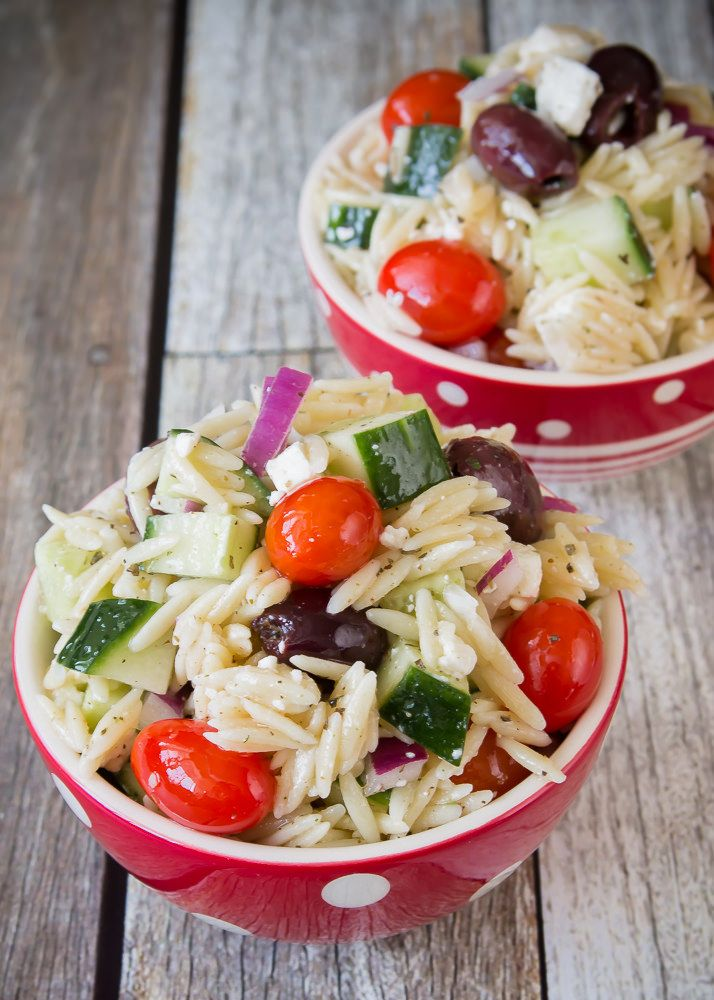Good Seasons Greek Orzo Salad. A delicious salad to go with any summer dinner.