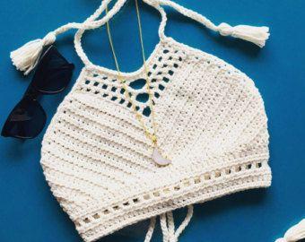 Womens White Crochet Bikini Top without Beaded Fringe. 2