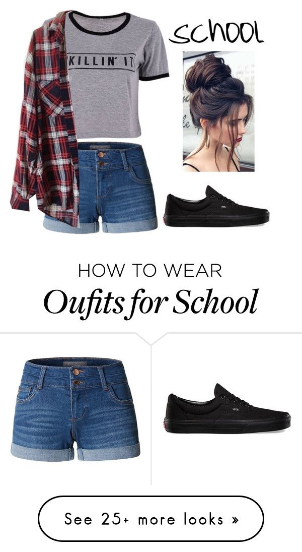 """School look #3"" by savannahortega on Polyvore featuring LE3NO, Brandy Melville, Vans, school and tumblr"