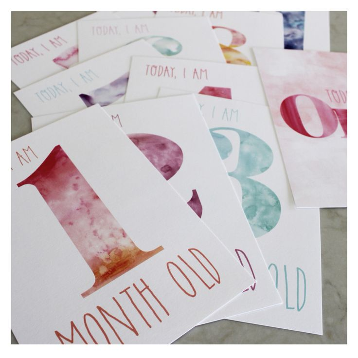 DREAMY // Watercolour Baby Milestone Cards - the perfect gift for an expecting friends baby shower gift, or a treat for your pregnant self. An on trend photo prop, will look darling next to your baby girl.