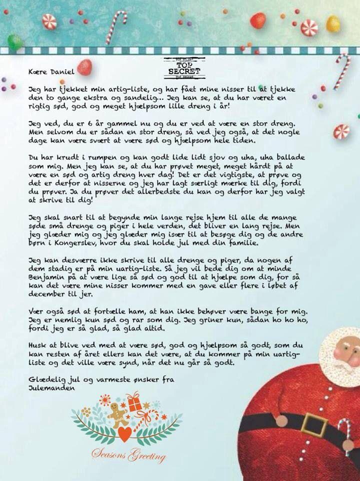 """5 breve fra Julemanden i december. Jeg har arbejdet i en app der hedder: Piccollage, hvor jeg fandt et passende billede og satte som baggrund. Så kopierede jeg teksten og satte det ind. Herefter valgte jeg en font, som jeg synes passede til og så tilføjede jeg et """"Top Secret"""" stamp og et billede fra Piccollage. På billedet herunder ser I resultatet til vores ældsteguld, klar og lige til at printe ud, komme i en kuvert og smide i postkassen til fornøjelse og glæde... Brev 1 fra julemanden…"""