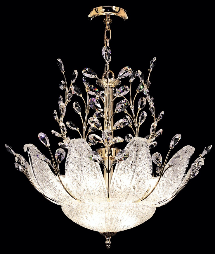 James R. Moder Murano and Crystal Pendant Chandelier -