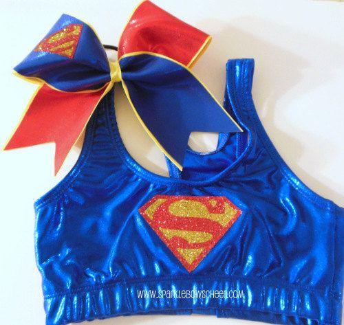 Superman Super Hero Metallic Sports Bra and Bow Set Cheerleading