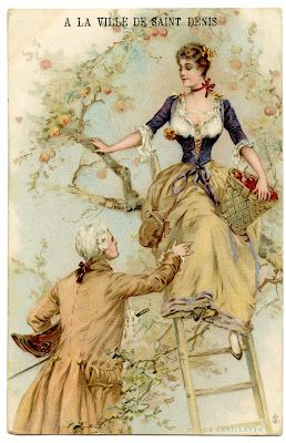 Vintage Graphic - Romantic French Couple picking Apples - The Graphics Fairy