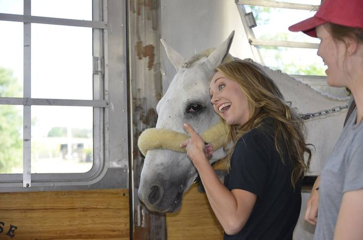 """ HAVIN' A LAUGH! #TBT from last August. On set with Amber and equine co-star for the Ecclestone Horse Transport Inc. Safety Video Series. """