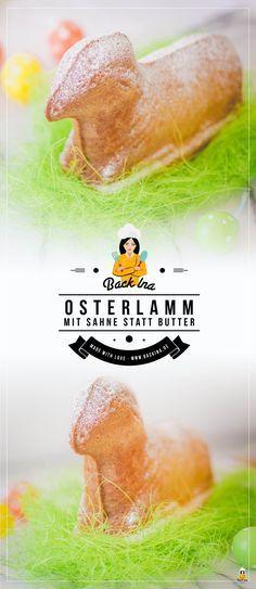Du möchtest ein Osterlamm backen und suchst ein saftiges Osterlamm, das lange frisch bleibt? Dieses Osterlamm Rezept nutzt Sahne statt Butter im Teig - super saftig und zart! | BackIna.de