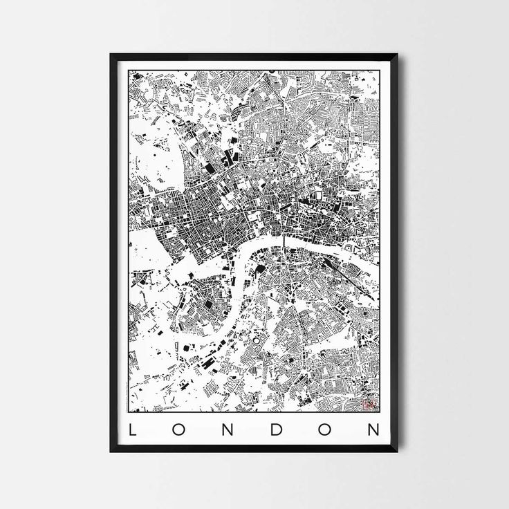 London schwarzplan map art city posters. Unique interior decor idea for offices art posters or kitchen art prints.  Minimalist city art gifts for travelers as framed art or canvas wall art. Urban plan map style. print, poster, gift | CityArtPosters.com