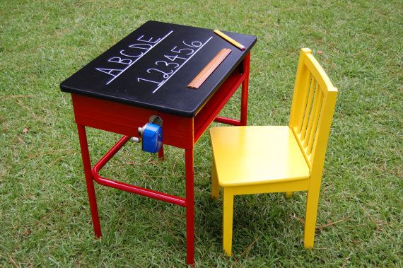 Vintage 1950's Childs Desk And Chair, Chalk board Metal School Desk, Wood Chair, With Vintage Pencil Sharpener $145 desk and chair