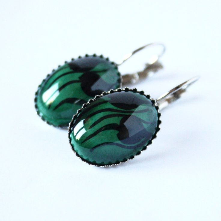 Green & Black Tulip Hand Painted Ceramic Earrings