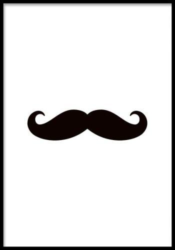 Mustache poster. Trendig tavla med mustasch motiv. Svartvit grafisk poster med motiv av en mustasch. Snygg och stilren deisgn som passar bra tillsammas med flera av våra svartvita posters och prints. Finns även med pastellrosa och mintgrön bakgrund.