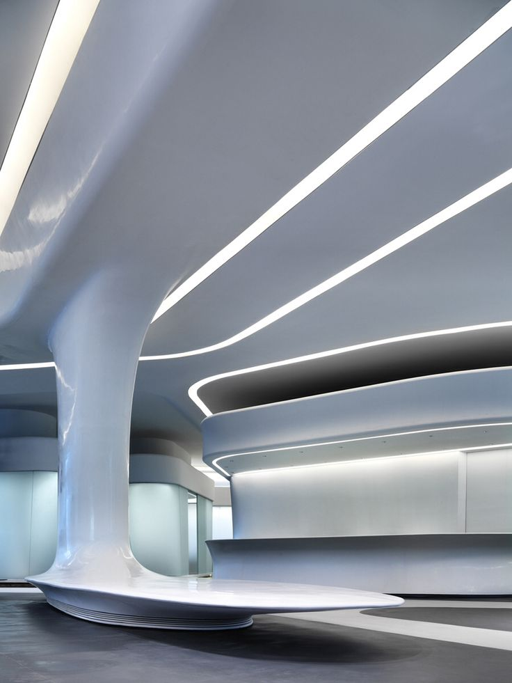 Lighting in interior design, architecture, white, LED, zaha hadid