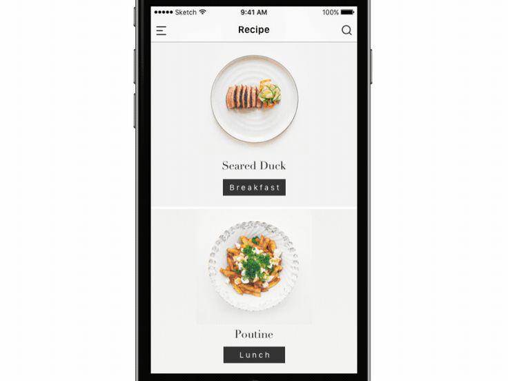 Interaction de scroll au sein d'une application de recettes de cuisine et mise en scène de la transition d'écran entre la liste de recettes et le détail d'une fiche recette.