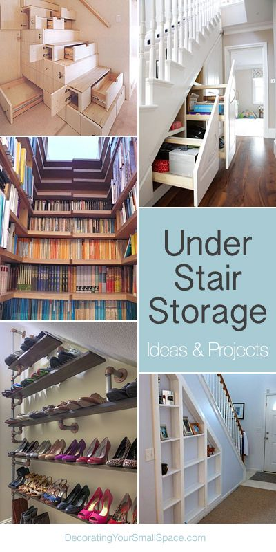 Under Stair Storage Ideas & Tutorials! I really like the Idea of recessed shelves in the unused space of the stair-rail.