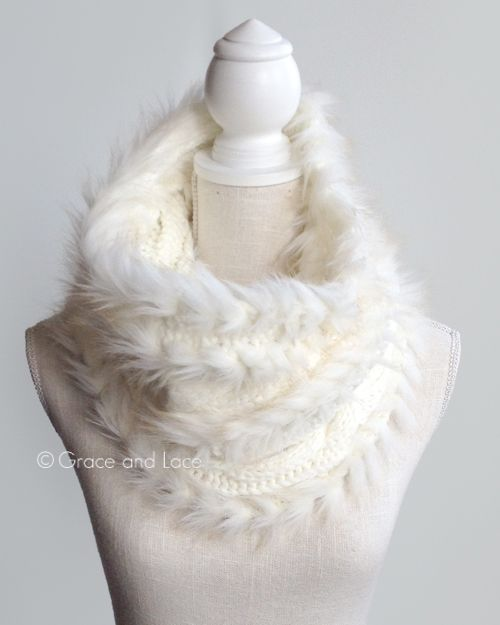 Want! Grace and lace white faux fur scarf. More