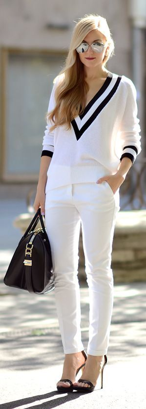 Black And White Stripe Detail V-neck Jumper by Oh My Vogue