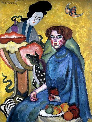 Илья Машков. Портрет Евгении Ивановны Киркальди (Дама с китаянкой). 1910 год