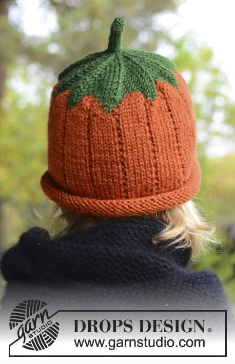 "DROPS Halloween: Knitted DROPS pumpkin hat in ""Karisma"". Size 0-8 years. ~ DROPS Design, dk wt yarn, free pattern"
