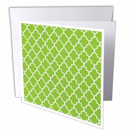 3dRose Bright green quatrefoil pattern Lime Moroccan tiles retro Islamic art white geometric clover lattice, Greeting Cards, 6 x 6 inches, set of 12