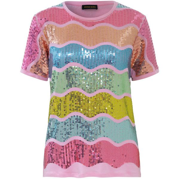 Stine Goya Cecilia Multicolor Embellished Top (4.995.980 VND) ❤ liked on Polyvore featuring tops, metallic, short sleeve tops, multi color tops, colorful tops, crew neck top and metallic top