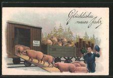 alte AK Schweine werden in einen Eisenbahnwaggon verladen, Geldsäcke, Neujahr