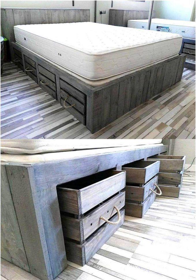 Best 25 pallet bedroom furniture ideas on pinterest diy for Pallet bed with storage