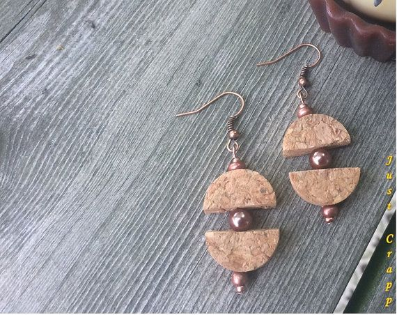 Wine Cork Earrings Half Sandwich by JustCrapp on Etsy