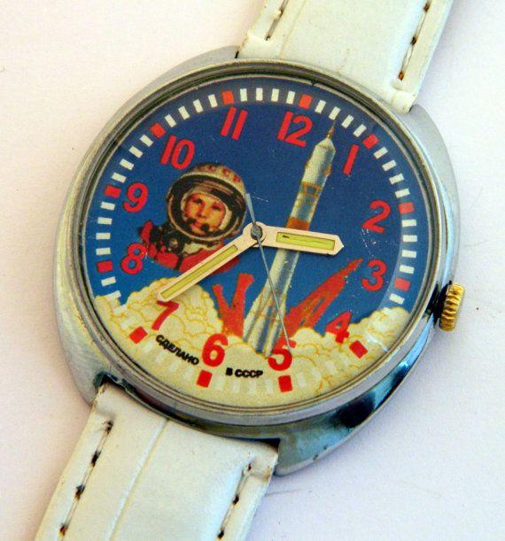USSR Russian watch Raketa Gagarin by madeinua on Etsy, $49.99