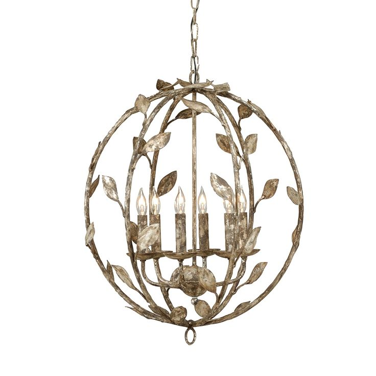 If the Secret Garden had glamorously chic furnishings, we'd have just the right lighting. With whimsical leaves and branches, our Botanical Leaf Chandelier    introduces a fresh element to a transitional globe design. The wrought-iron construction and heavily distressed Antique Silver finish adds earthy warmth to    modern or feminine spaces.            Versatile, medium-sized chandelier                Uses six candelabra-style incandescent bulbs; maximum 60 watts each (not included) ...