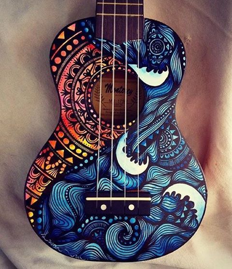 Can hang my uke on the wall:) Beautifully painted ukulele ❤️ by @salty_hippie                                                                                                                                                                                 More