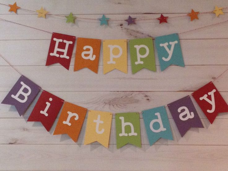 Rainbow Happy Birthday Banner with star garland, Birthday Banner, Rainbow Birthday, Rainbow Party, Rainbow Banner by partypaperscissors on Etsy https://www.etsy.com/listing/155580200/rainbow-happy-birthday-banner-with-star