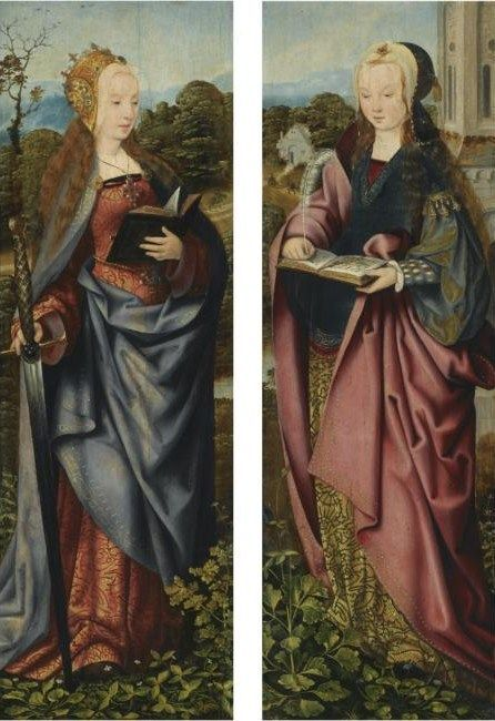 Saints Catherine and Barbara, wings of a triptych - c. 1500 Master of Frankfurt