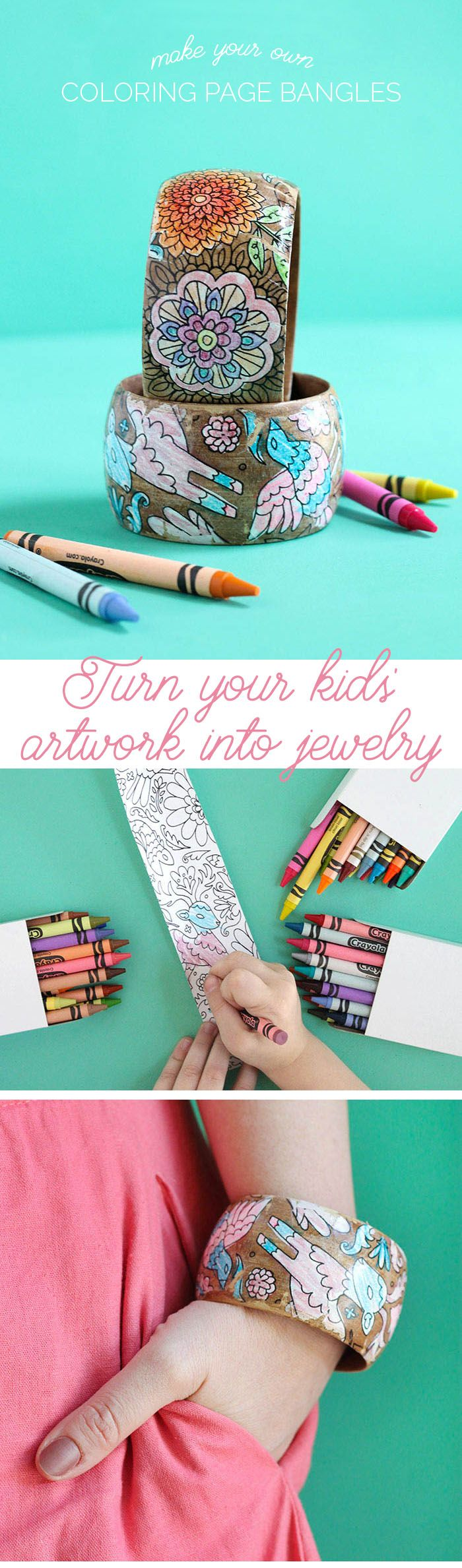 Make your own DIY coloring page bracelets. Turn your coloring book or your kids' artwork into a piece of jewelry! Perfect for Mother's Day
