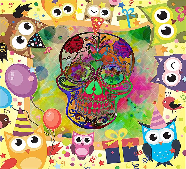 Colourful skull framed with cartoon characters for the kids! (Tap and visit to see what it looks like on a cushion).