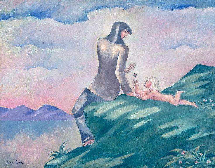 Eugeniusz Zak: Kobieta z dzieckiem na brzegu jeziora (ok. 1913 r.?) olej, karton, tektura, 34,5 × 44 cm