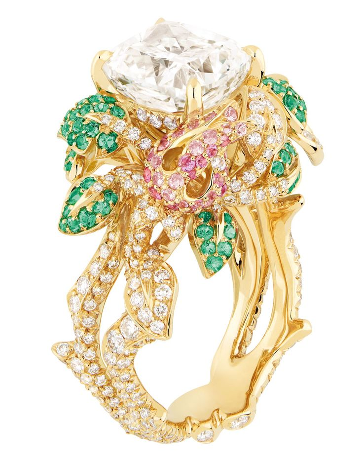 Dior 'PRÉCIEUSES' ROSE RING: Yellow gold, diamonds, emeralds, sapphires and pink sapphires.