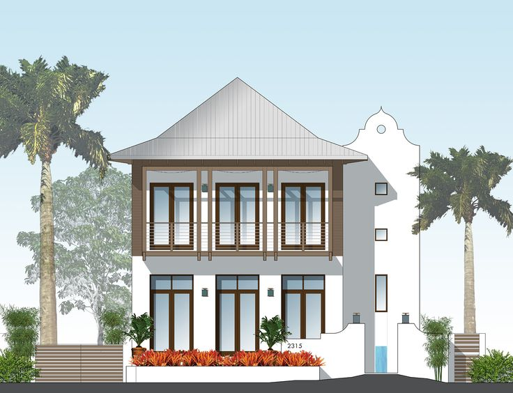 Front Elevation French West Indies Architecture Southern