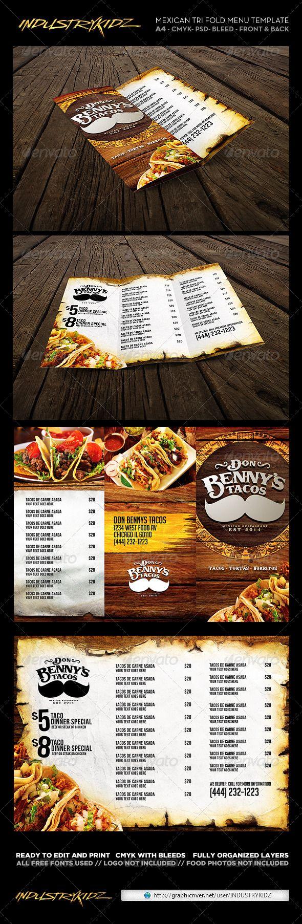 Trifold Mexican Menu Template #design #alimentationmenu Download: http://graphicriver.net/item/trifold-mexican-menu-template/6745168?ref=ksioks