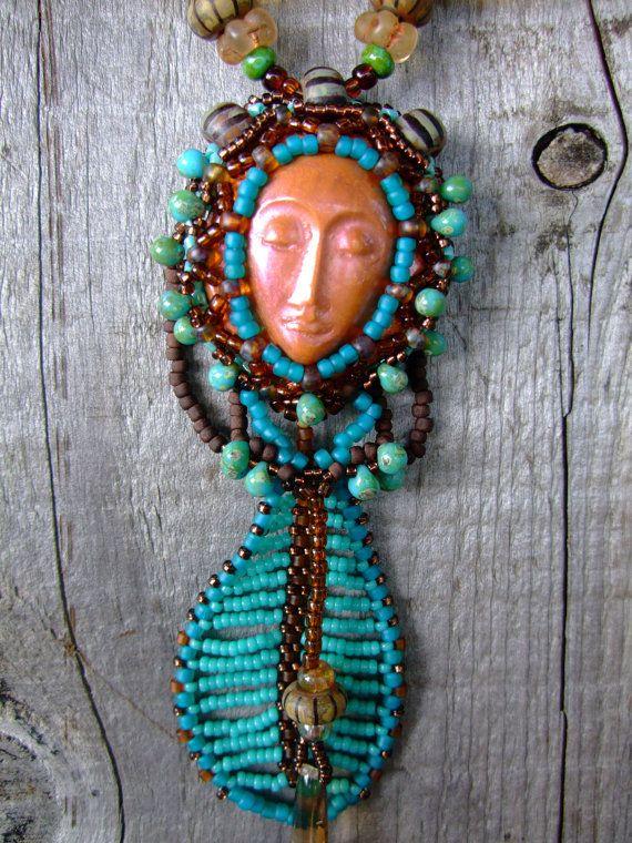 Feather Goddess Beadwork Necklace with Antique by PhantasmCreates