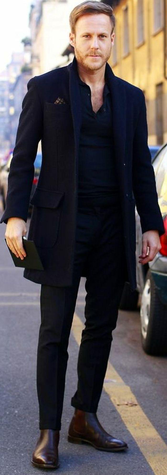 joli et elegant homme avec manteau homme zara noir