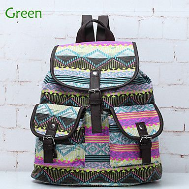 Europe Fashion National Wind Pattern Women's Leisure Canvas Backpacks College Girl Students Backpacks - USD $ 16.50