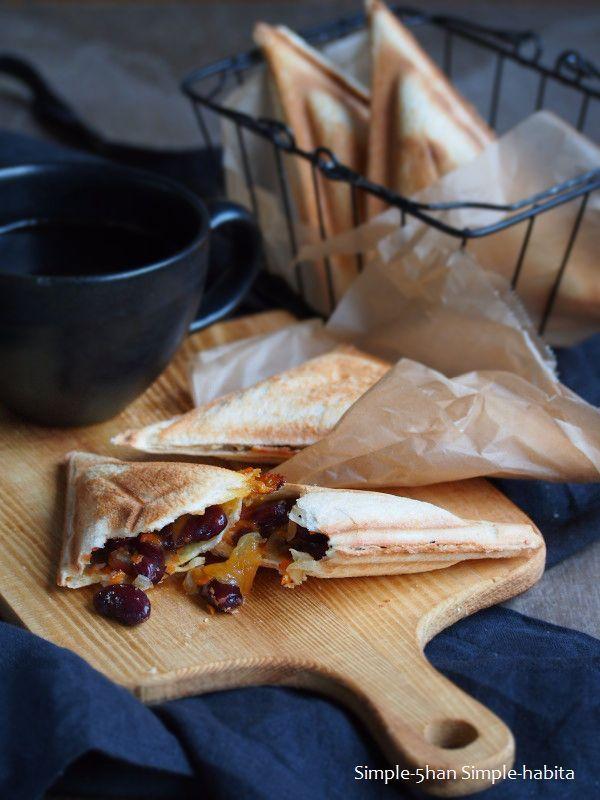 人気の食パン アレンジレシピ♡「豆とチェダーチーズのホットサンド」