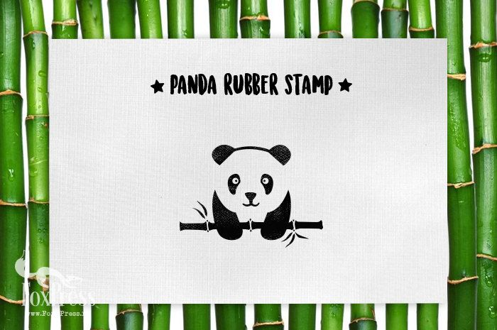 Stamp set: Panda Rubber Stamp Bamboo Rubber Stamp by TheFoxPress