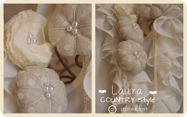 pearl and linen   elegant necklace  hand made  by laura country style