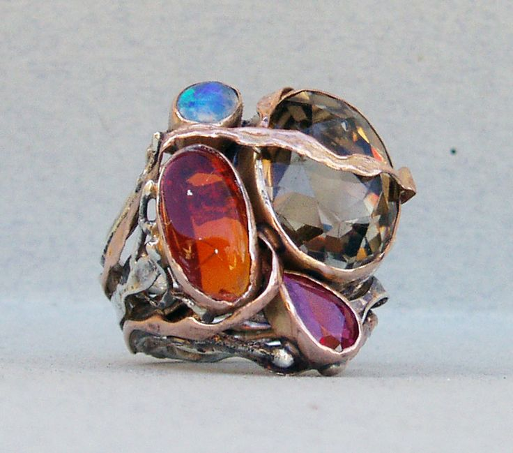 ring-silver,rose gold,fire opal,blue opal,ruby,smoky quartz