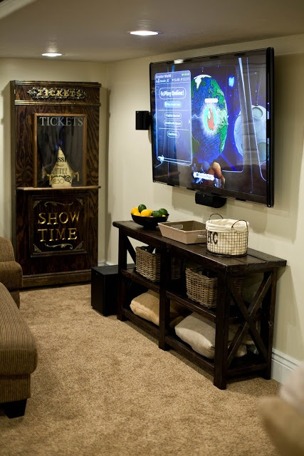 Shelf under tv love this one home ideas pinterest for Basement rec room designs
