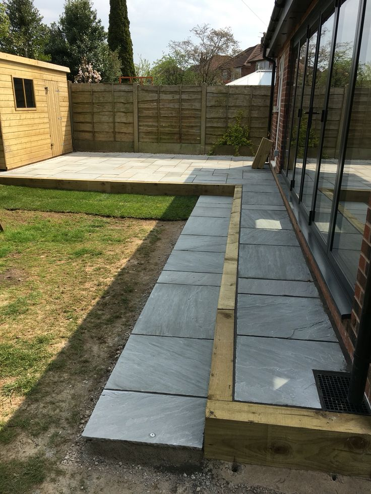 Indian stone steps / patio to bi fold doors