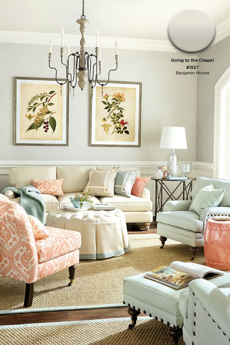 Benjamin Moore's Going to the Chapel paint color. That would look really pretty in our dining room.
