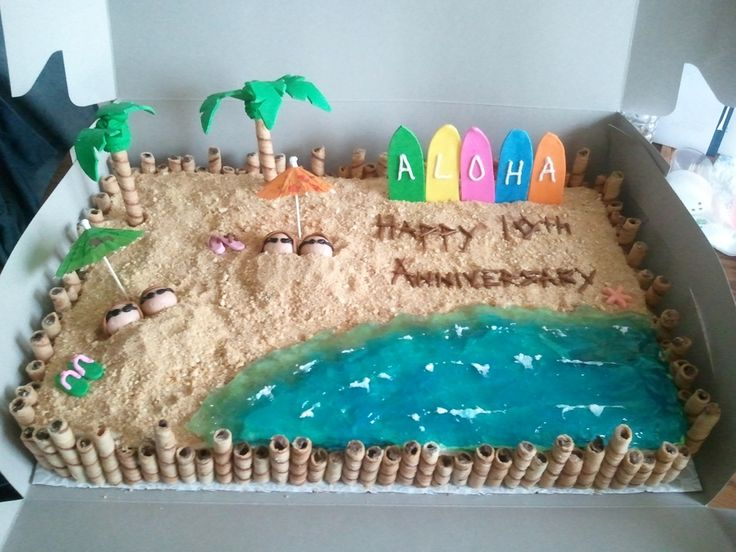 Pineapple cake with vanilla buttercream frosting. I made the sand out of equal parts of graham cracker and brown sugar. I used the Wilton method for making the palm trees. They didn't make it to the party, one tree only had three leaves and the other had one leaf. Not sure if a longer drying