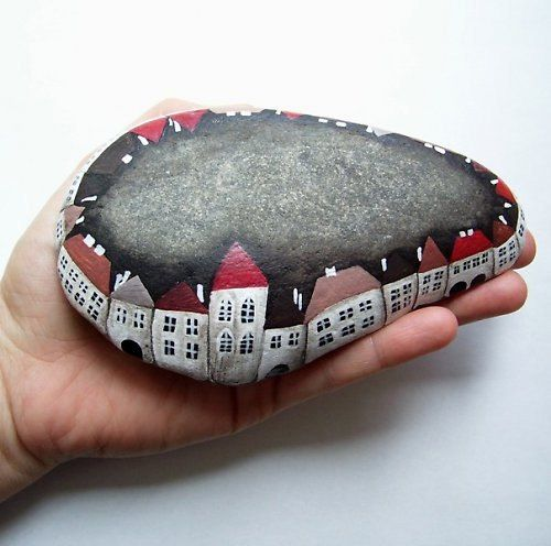 i did this like 15 years ago with my grandma and instead of a village we painted the rocks into animals.