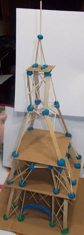 Model Eiffel Tower for Madeline and Mirette on the high wire.